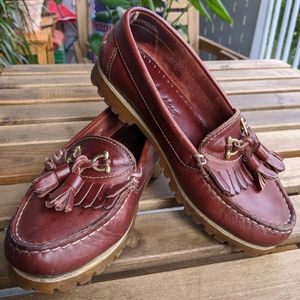 Made in Italy Leather Tassle Loafers Vintage Brown
